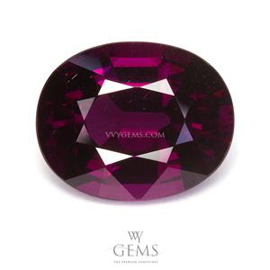 [BGL Certified] โรโดไลต์ (Rhodolite) 8.78 กะรัต รูปไข่ สีม่วงเข้ม