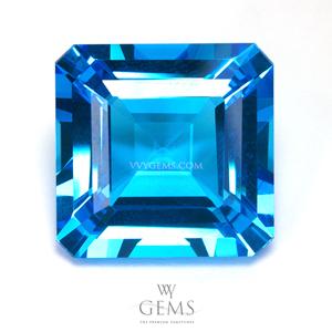 สวิสบลูโทแพซ (Swiss Blue Topaz) 22.62 กะรัต สี่เหลี่ยมตัดมุม