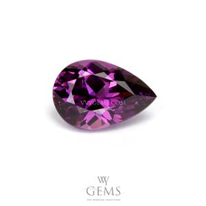 โรโดไลต์ (Rhodolite) 1.46 กะรัต หยดน้ำ สีม่วงเข้ม
