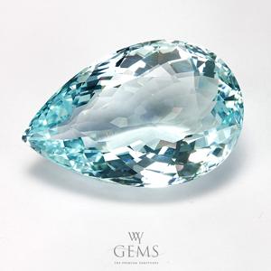 อะความารีน (Aquamarine) 25.64 กะรัต สีฟ้าอ่อน รูปหยดน้ำ IF