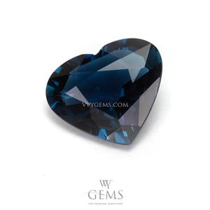 [GIT Certified]อินดิโคไลท์ทัวร์มาลีน (Indicolite Tourmaline) 2.79 กะรัต สีน้ำเงินอมเขียว หัวใจ 1