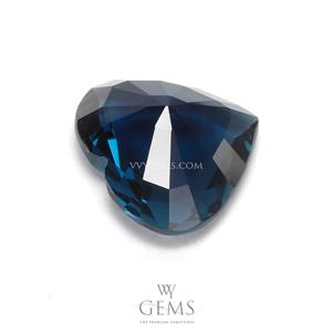[GIT Certified]อินดิโคไลท์ทัวร์มาลีน (Indicolite Tourmaline) 2.79 กะรัต สีน้ำเงินอมเขียว หัวใจ 2
