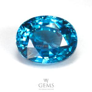 เพทาย (Blue Zircon) 5.86 กะรัต รูปไข่ สีฟ้า