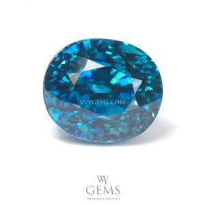 เพทาย (Blue Zircon) 6.61 กะรัต รูปไข่ สีฟ้า