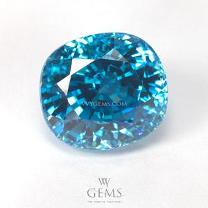 เพทาย (Blue Zircon) 9.41 กะรัต รูปไข่ สีฟ้า ไฟเต็มเม็ด