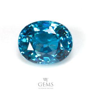 เพทาย (Blue Zircon) 5.57 กะรัต รูปไข่ สีฟ้าสวย