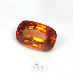 ซองเจีย(Yellow Sapphire) 2.09 กะรัต สีส้ม คุชชั่นยาว ไฟดี 1