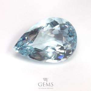 อะความารีน (Aquamarine) 2.79 กะรัต สีฟ้าอ่อน รูปหยดน้ำ