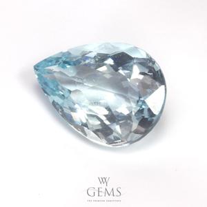 อะความารีน (Aquamarine) 2.79 กะรัต สีฟ้าอ่อน รูปหยดน้ำ 1