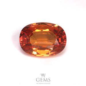 สเปสซาร์ไทด์ (Spessartite Garnet) 2.29 กะรัต รูปไข่ สีส้ม หน้าใหญ่ไฟดี