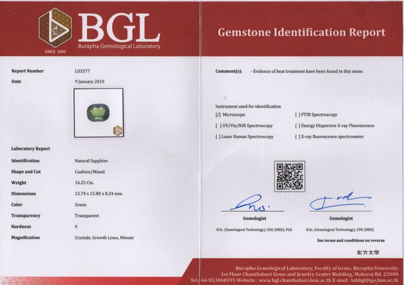 [BGL Certified]เขียวส่อง (Green Sapphire) 16.24 กะรัต รูปไข่ 3