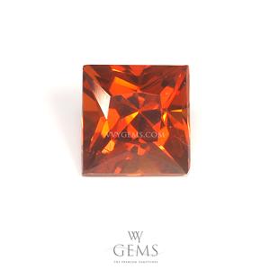 สเปสซาร์ไทด์ (Spessartite Garnet) 2.61 กะรัต รูปสี่เหลี่ยม สีแดงส้ม
