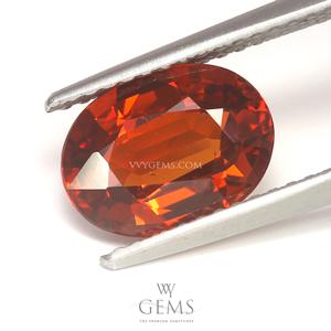 สเปสซาร์ไทด์ (Spessartite Garnet) 2.59 กะรัต รูปไข่ สีแดงส้ม
