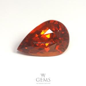 สเปสซาร์ไทด์ (Spessartite Garnet) 4.02 กะรัต รูปหยดน้ำ สีแดงส้ม