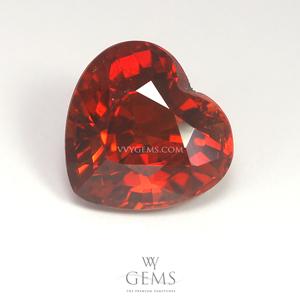 สเปสซาร์ไทด์ (Spessartite Garnet) 2.63 กะรัต รูปหัวใจ สีแดงส้ม