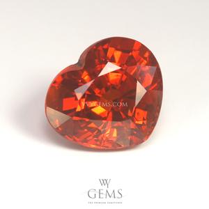 สเปสซาร์ไทด์ (Spessartite Garnet) 3.3 กะรัต รูปหัวใจ สีแดงส้ม
