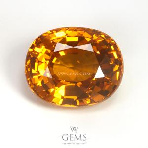 บุษราคัม(Yellow Sapphire) 5.03 กะรัต น้ำทอง รูปไข่ ไฟเต็มเม็ด