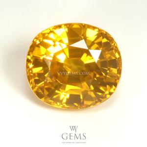 บุษราคัม(Yellow Sapphire) 3.8 กะรัต น้ำทอง รูปไข่ ไฟเต็มเม็ด Perfect
