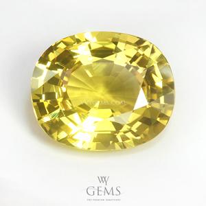 [BGJ Certified]บุษราคัม(Yellow Sapphire) 5.47 กะรัต สีมะนาว