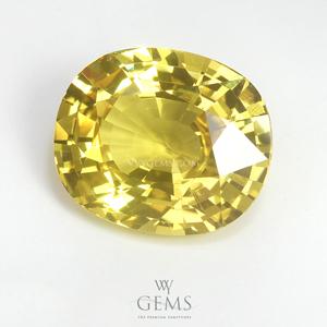 [BGJ Certified]บุษราคัม(Yellow Sapphire) 5.47 กะรัต สีมะนาว 1