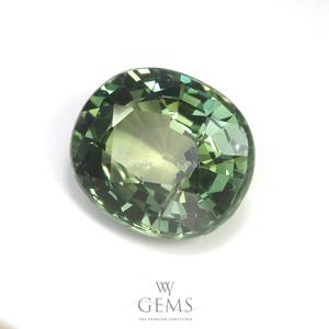 เขียวส่อง (Green Sapphire) 3.69 กะรัต รูปไข่ 1