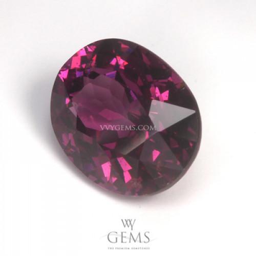 โรโดไลต์ (Rhodolite) 3.33 กะรัต รูปไข่ สีม่วงเข้ม 1