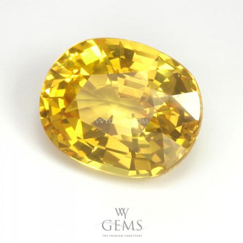บุษราคัม(Yellow Sapphire) 4.20 กะรัต  รูปไข่ ไฟดี 1