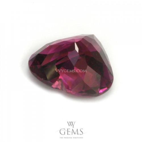 โรโดไลต์ (Rhodolite) 2.50 กะรัต รูปหัวใจ สีม่วงเข้ม 2