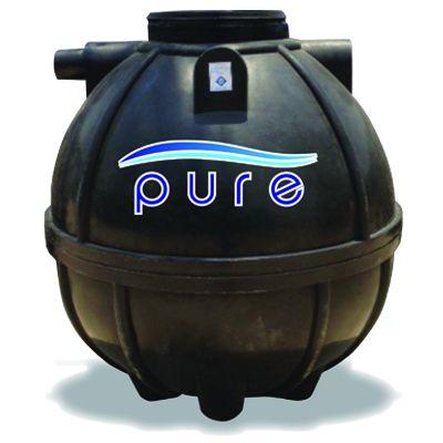 ถังบำบัดน้ำเสียไฟเบอร์กลาสทรงกลมเกรอะกรองรวมแบบเติมอากาศ PURE รุ่น PT-1000FB (1000 ลิตร)