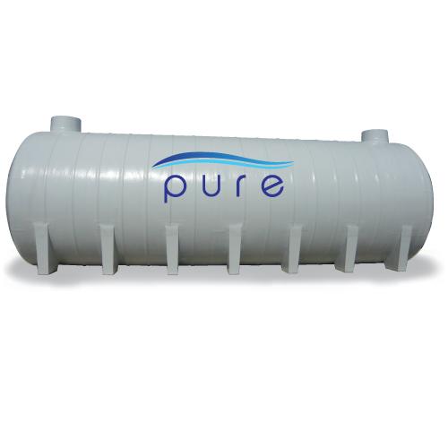 ถังบำบัดน้ำเสียไฟเบอร์กลาสเกรอะกรองรวมแบบเติมอากาศทรงแคปซูล PURE รุ่น PT-50FB ( 50,000 ลิตร )