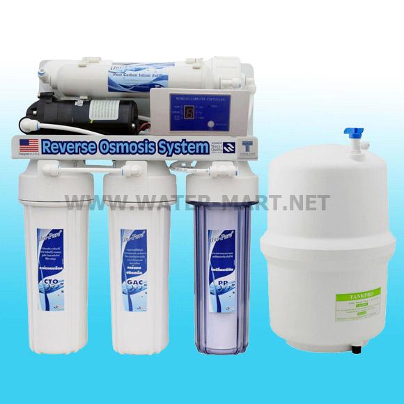 เครื่องกรองน้ำ ro 5 ขั้นตอน ระบบ Reverse Osmosis 50 GPD Uni-pure (Auto Flush+Digital Control)