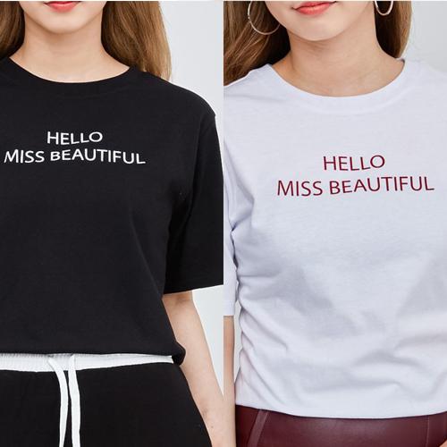 เสื้อยืดแฟชั่นเกาหลีล้างสต็อค ลาย HELLO MISS BEAUTIFUL