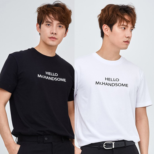 เสื้อยืดแฟชั่นเกาหลีล้างสต็อค ลาย HELLO Mr.HANDSOME