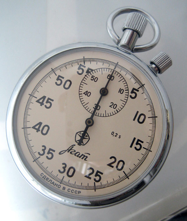 นาฬิกาจับเวลารัสเซีย stopwatch จับเวลาได้สูงสุด 60 นาที หน้าปัดครีมพิมเลขอารบิค ตัวเรือน steel ขนาดต