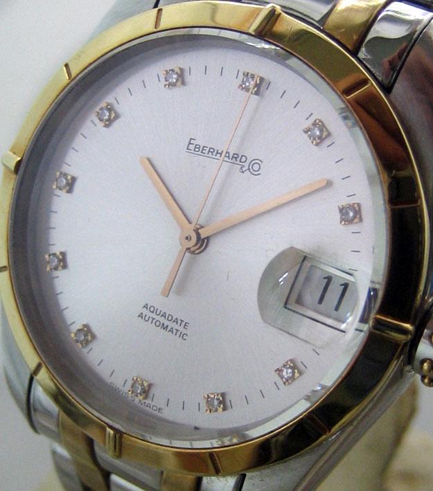 eberhard auto aquadate diamond for man, lady size 35mm หน้าปัดบรอนซ์เงินสไลด์เงาประดับหลักเวลาเพชรสว 1