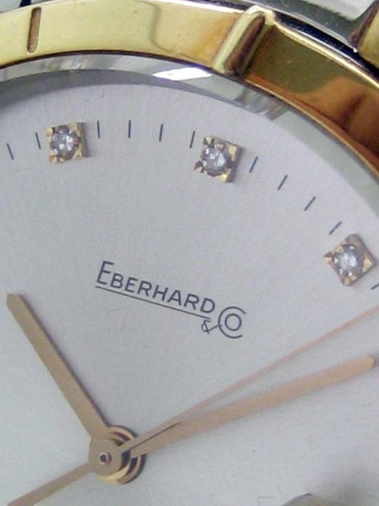 eberhard auto aquadate diamond for man, lady size 35mm หน้าปัดบรอนซ์เงินสไลด์เงาประดับหลักเวลาเพชรสว 2