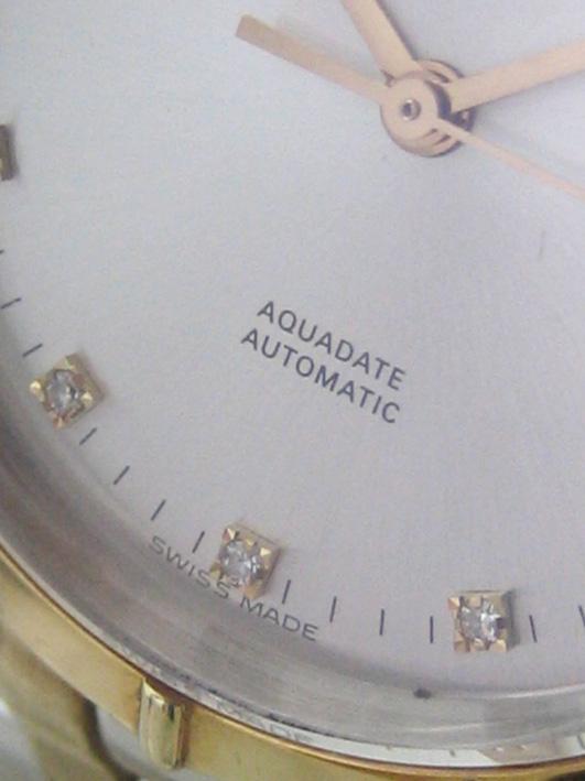 eberhard auto aquadate diamond for man, lady size 35mm หน้าปัดบรอนซ์เงินสไลด์เงาประดับหลักเวลาเพชรสว 3