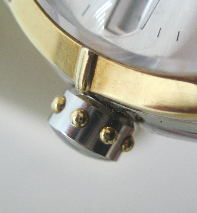 eberhard auto aquadate diamond for man, lady size 35mm หน้าปัดบรอนซ์เงินสไลด์เงาประดับหลักเวลาเพชรสว 5