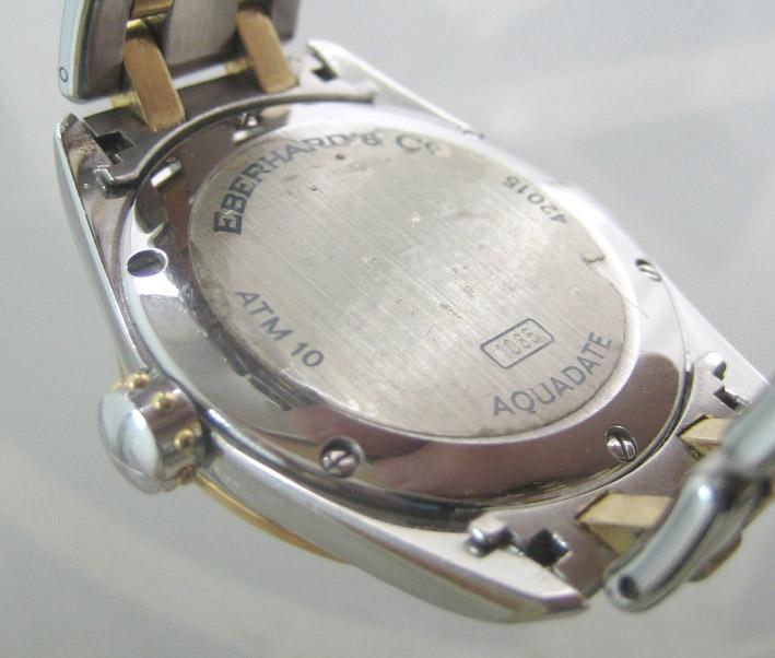 eberhard auto aquadate diamond for man, lady size 35mm หน้าปัดบรอนซ์เงินสไลด์เงาประดับหลักเวลาเพชรสว 6