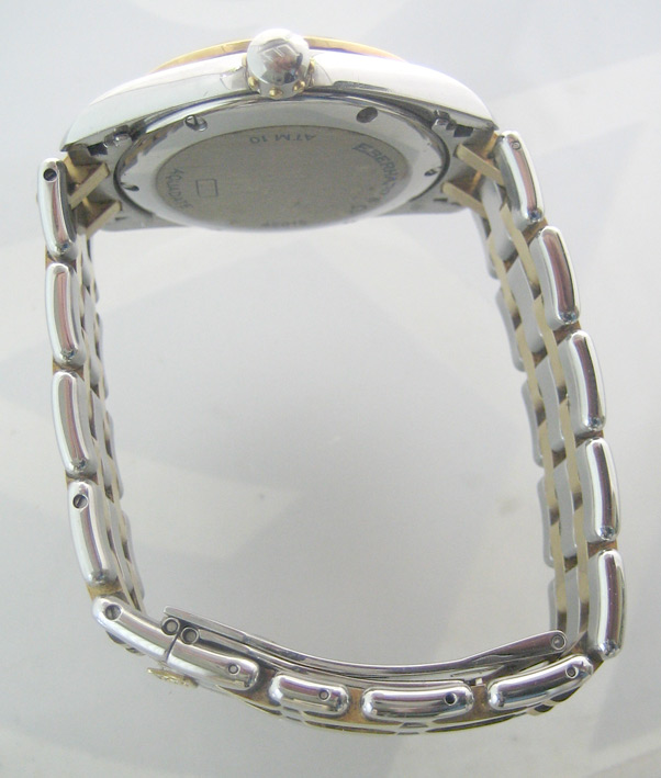 eberhard auto aquadate diamond for man, lady size 35mm หน้าปัดบรอนซ์เงินสไลด์เงาประดับหลักเวลาเพชรสว 9