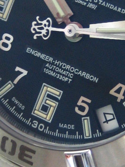 BALL WATCH CO engineer hydrocarbon auto date for man, lady size 34 หน้าปัดดำลายประดับหลักเวลาขีดสลับ 3