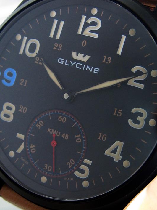 glycine KMU48 limited Thailand 04/50 ไขลาน ขนาด over size 48mm หน้าปัดดำพิมพ์พรายน้ำอารบิครอบ พิเศษส 2