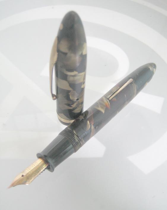 ปากกาหมึกซึม sheaffer life time 1932 USA ตัวด้ามอครีลิคลายหินเขียว ชุดเหน็บเคลือบทอง ปากทอง 18k ฝาขั 1