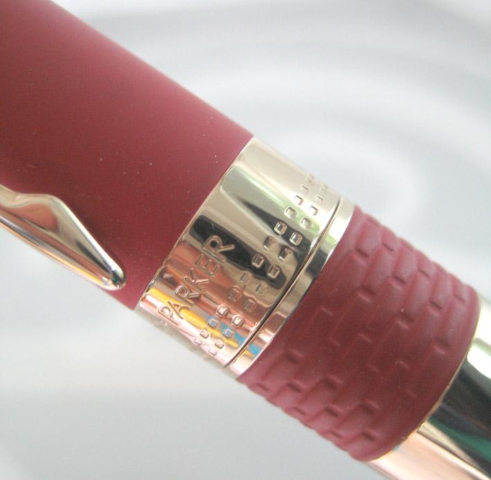 ปากกาหมึกเคมี PARKER ชุดเหน็บเคลือบทอง yellow gold ระบบหมึกซ่อนปลายปากเคมี ตัวด้ามแดงสลับทอง ระบบดึง 5