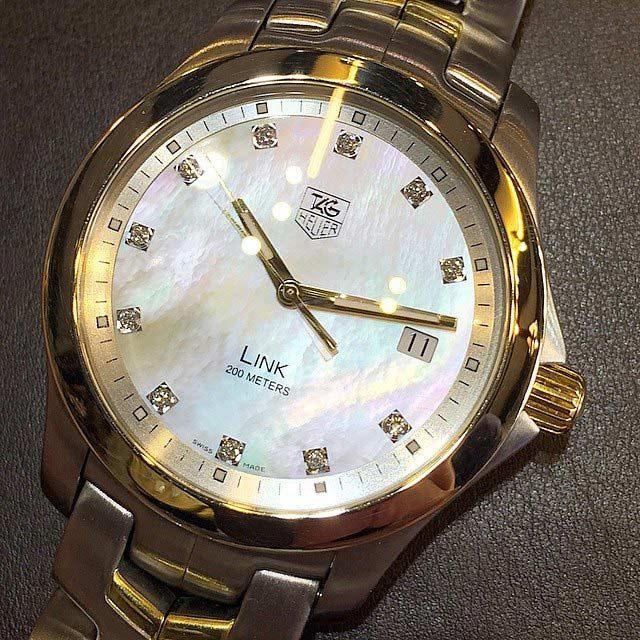 TAG HEUER  new link TIGER diamond 2 quartz date ขนาด 38mm หน้าปัดมุกขาวประดับเพชรแท้ original 11 เม็