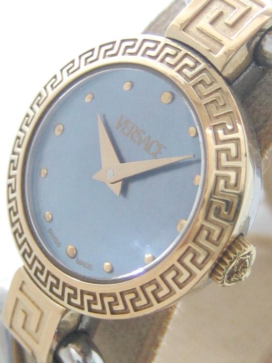 versace classic 2 กษัตริย์ for man, lady  size 30mm หน้าปัดฟ้าประดับหลักเวลาและชุดเข็มทอง กระจกโค้ง 1