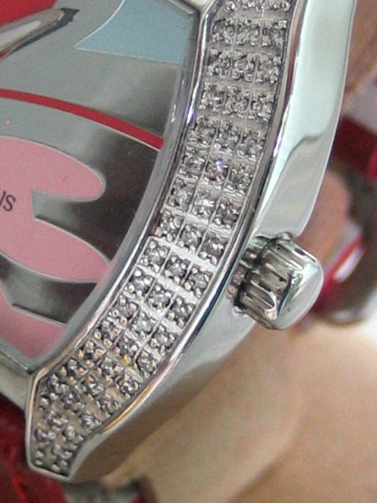 CHRISTIAN GEEN uranus diamond for lady ขนาด 34x46mm หน้าปัดเงาอารบิคสลับสี กระจกแซฟไฟล์โค้ง ขอบฝังเพ 2