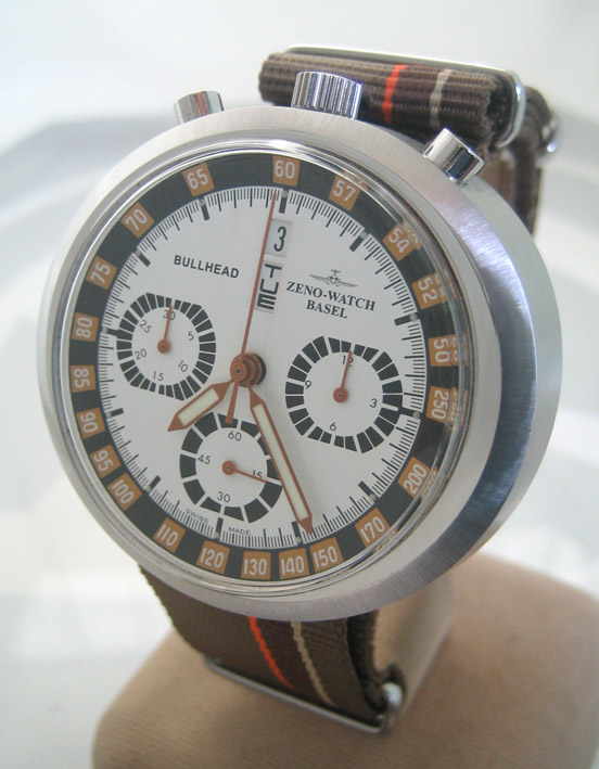 ZENO watch basel BULLHEAD auto chronograph ขนาด king size 43x46 หน้าปัดขาวบอกวันและวันที่ ขอบวงในบอก 1