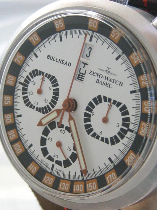 ZENO watch basel BULLHEAD auto chronograph ขนาด king size 43x46 หน้าปัดขาวบอกวันและวันที่ ขอบวงในบอก 2