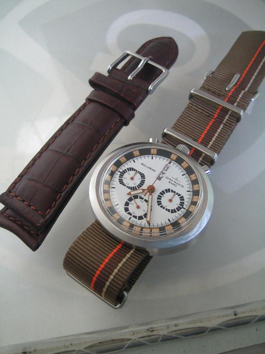 ZENO watch basel BULLHEAD auto chronograph ขนาด king size 43x46 หน้าปัดขาวบอกวันและวันที่ ขอบวงในบอก 5